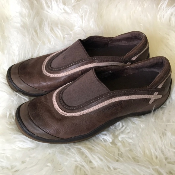 02bbd24435e9 Merrell Brown Leather Slip On Outdoor Shoes